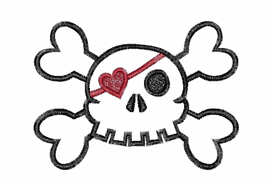 Skull with heart patch