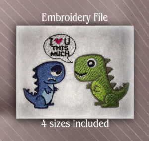 I love you Dino with filled embroidery