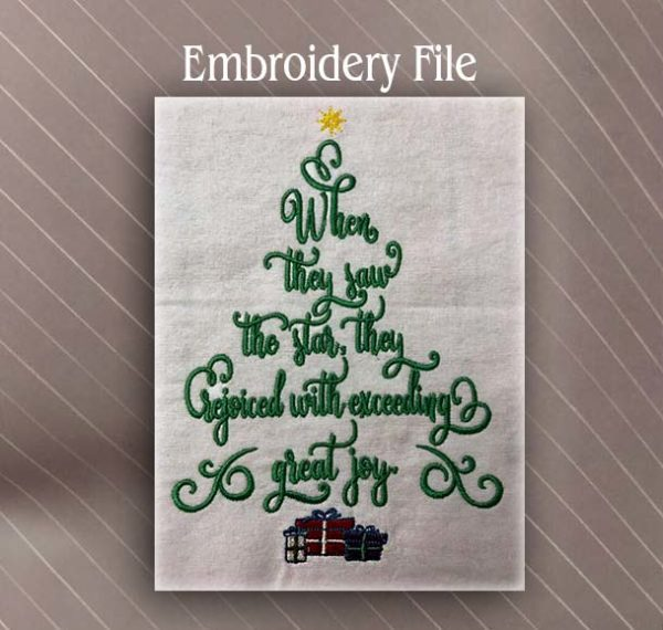 Bible verse Christmas Tree Embroidery