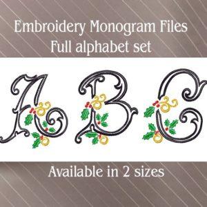 Vintage Holly Embroidery monogram alphabet font set
