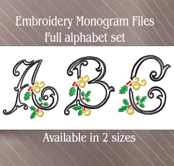 Vintage holly swirl machine embroidery font set sew