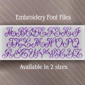 Vintage Swirl embroidery alphabet set fonts