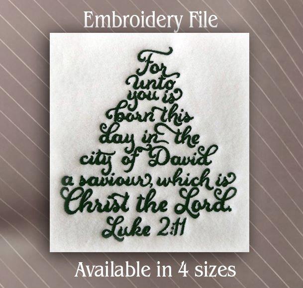 2 Christmas Tree.Christmas Tree Verse Luke 2 11 4 Sizes Available