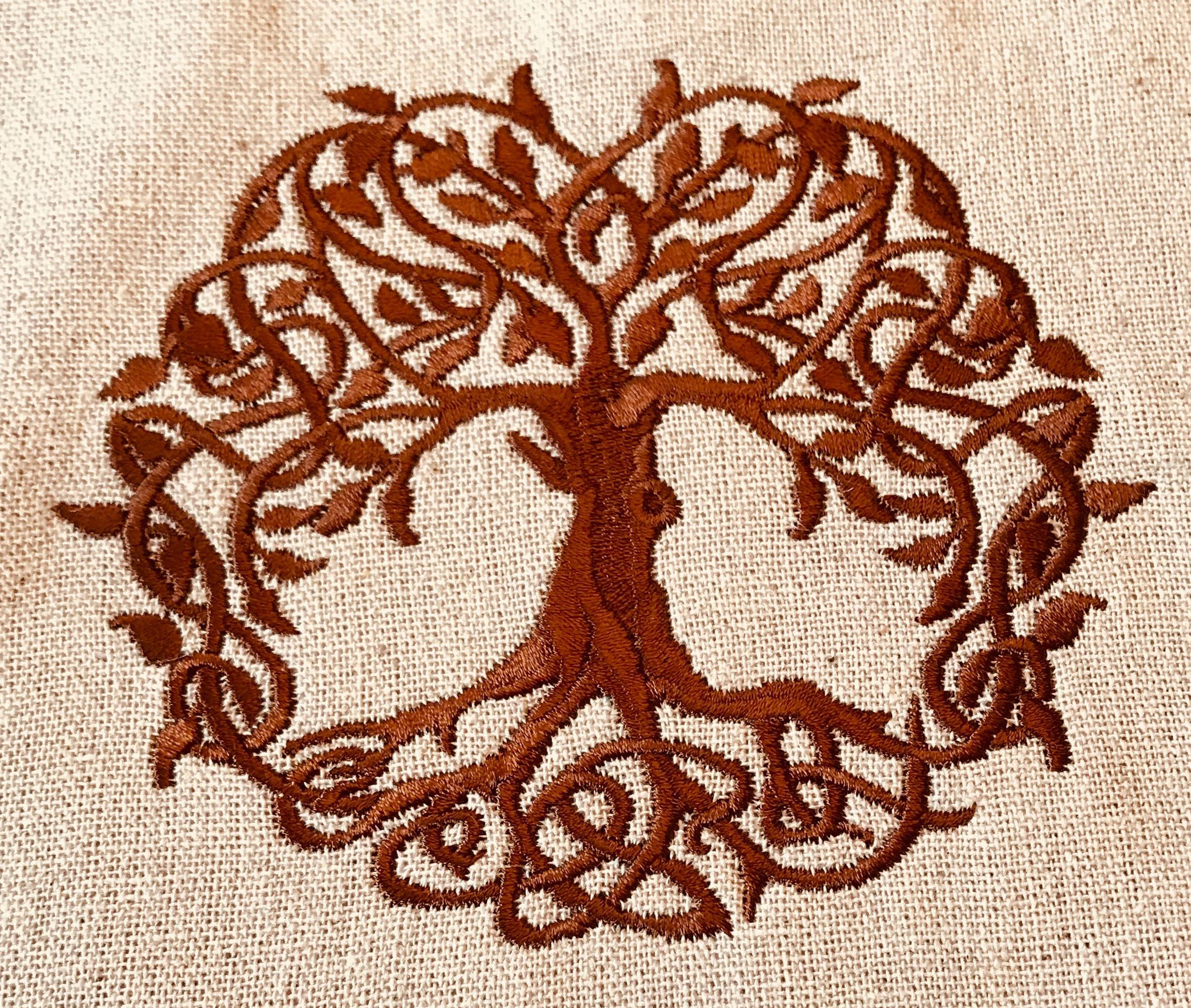 Celtic Tree Of Life Embroidery Design Satin Sew Fluffy Machine