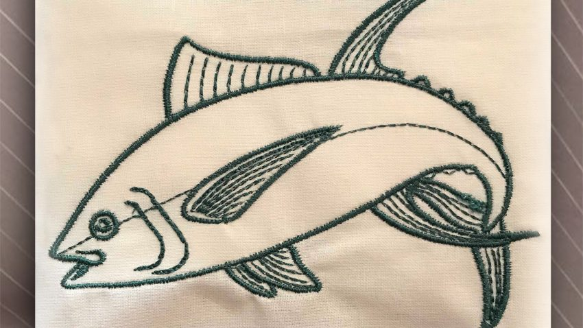 jumping tuna embroidery
