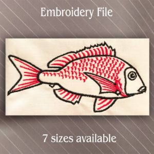 red snapper fish embroidery design